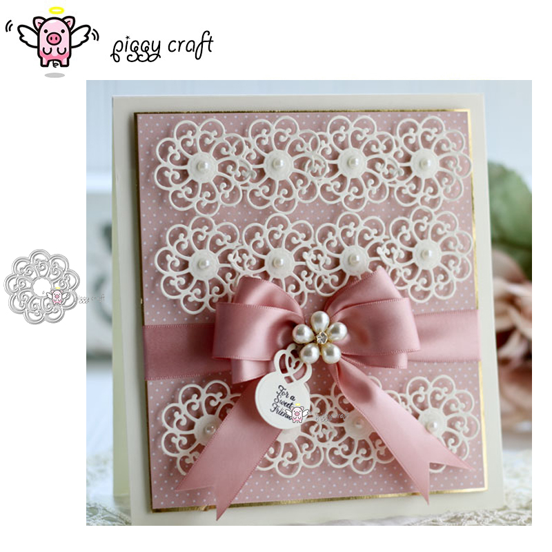 Piggy Craft metal cutting dies cut die mold 2019 New Lace flower Scrapbook paper craft knife mould blade punch stencils dies(China)