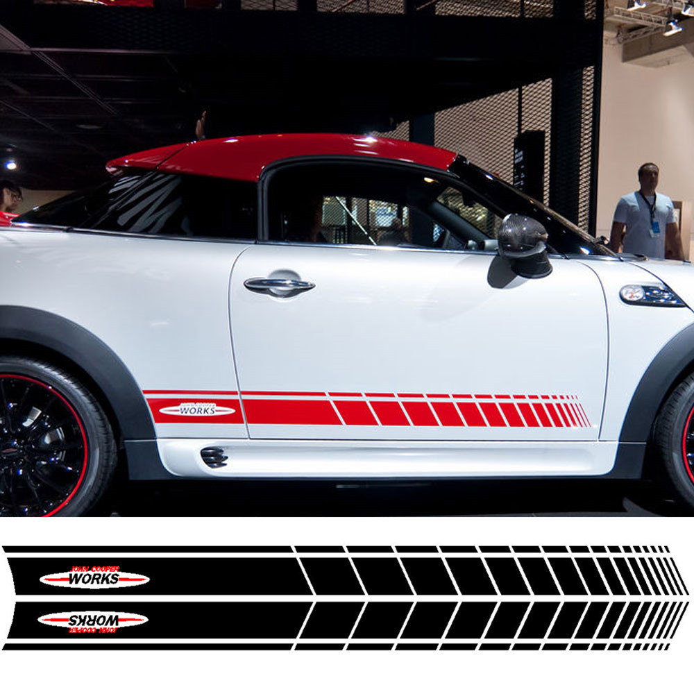Pair of Red / Black JCW John Cooper Works Side Skirt Door Racing Stripes Decal Sticker for MINI Cooper S