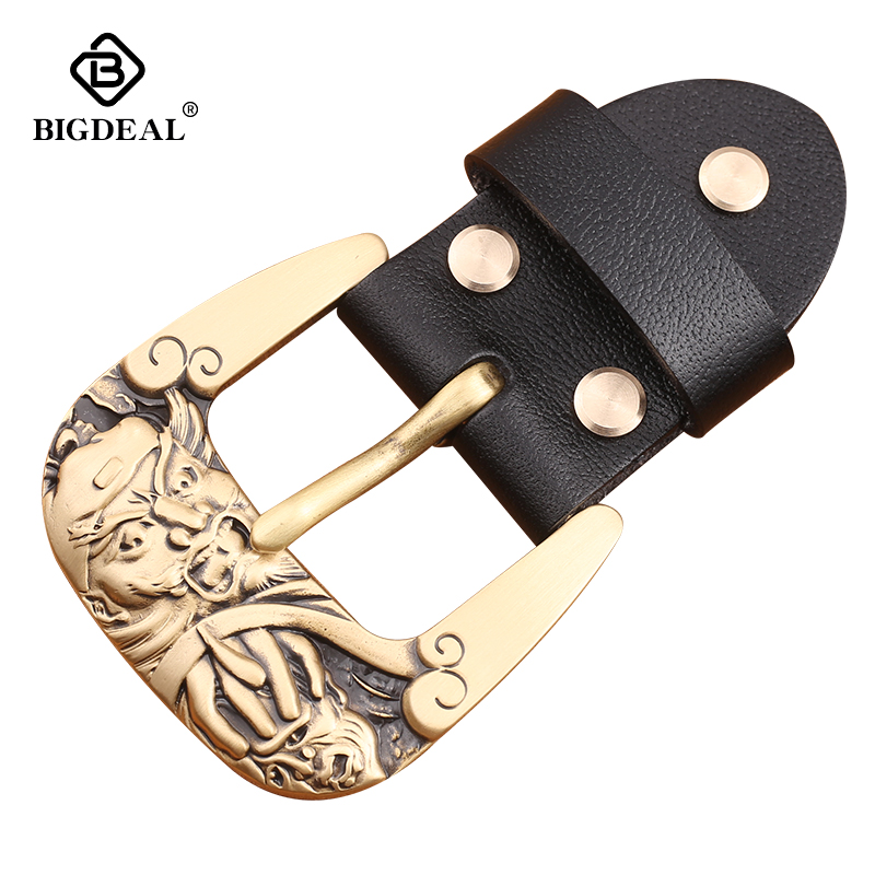 Solid Brass Metal Belt Buckles Fashion Men Women 40mm Pin Buckle For 3.8-3.9cm Belts DIY Leather Craft Jeans Accessories