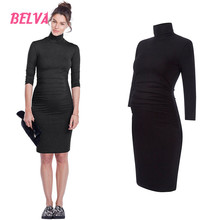 Belva pregnant women clothing dress fashion Turtleneck Bamboo Womens Maternity Stretch Warm Knit Bodycon Dress Polo Neck DR245