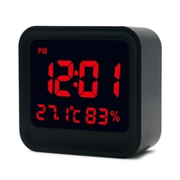 Digital High Accuracy Thermometer Hygrometer Alarm Clock With LCD Screen Display Day Night Mode 3 Groups