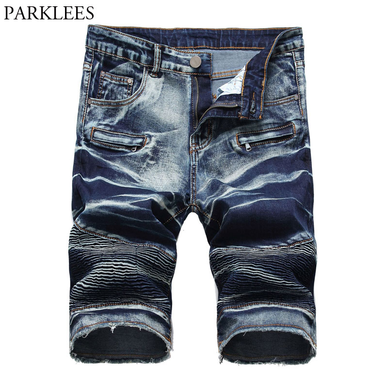 Men's Casual Biker Jeans Shorts Brand Washed Cotton Slim Fit Moto Denim Shorts Fashion Pleated Pocket High Quality Bermuda Jeans
