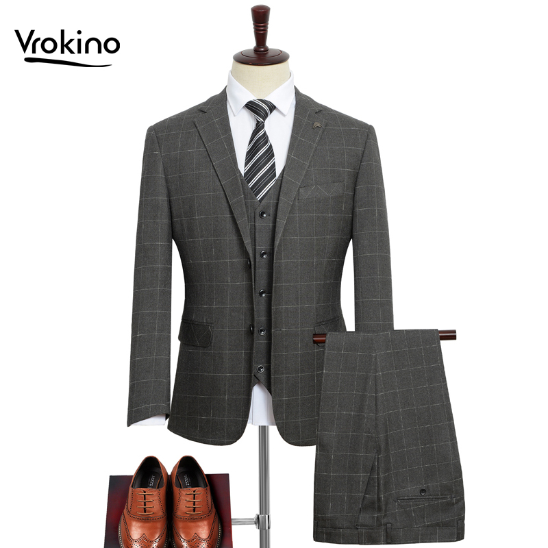 (suit + Vest + Pants)) 7XL 8XL 9XL 2019 Spring And Autumn Men's Business Casual Suit Suit Fashion Plaid Dress Three Suits
