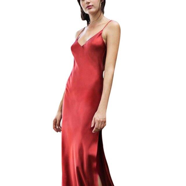 552a8a1b0acc Sexy Maxi Satin Dress 2019 Summer Women Spaghetti Strap V Neck High Waist  Slit Backless Long