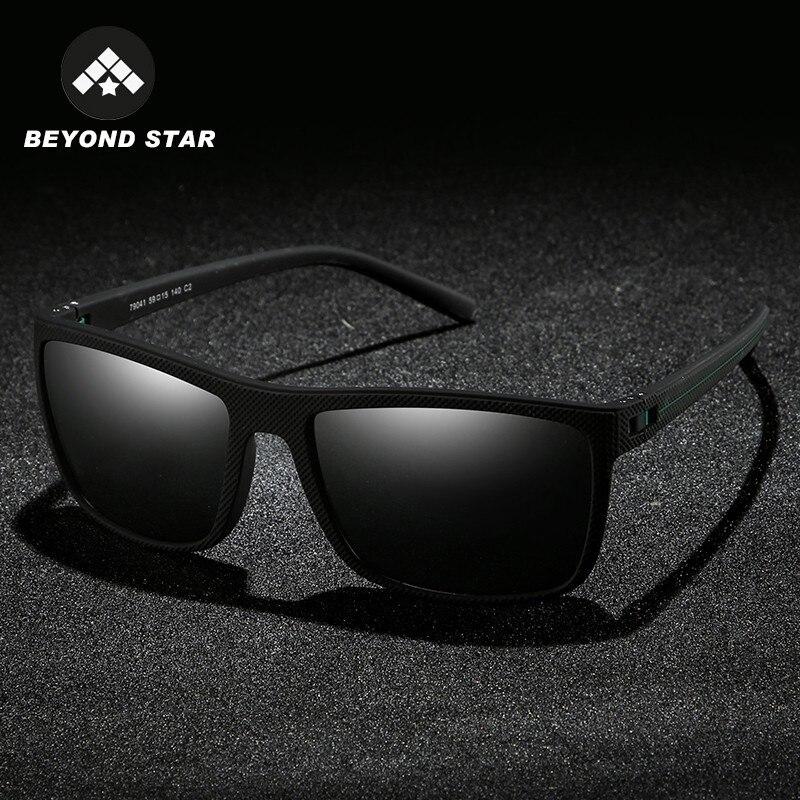 BEYONDSTAR New Square Polarized Sunglasses Men 2019 Brand Designer TR-90 Black Frame Sun Glasses Luxury Heren Zonnebril TR79041
