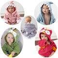 Encantadores diseños con capucha animal modelado bebé de algodón de dibujos animados bebé towel kids bath robe bath towel toallas de playa infantil