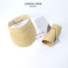 Ladies Summer Handmade Woven Raffia Straw Sun Visor Hat Empty Top Wide Brim UV Protection Adjustable Foldable Peaked Beach Cap