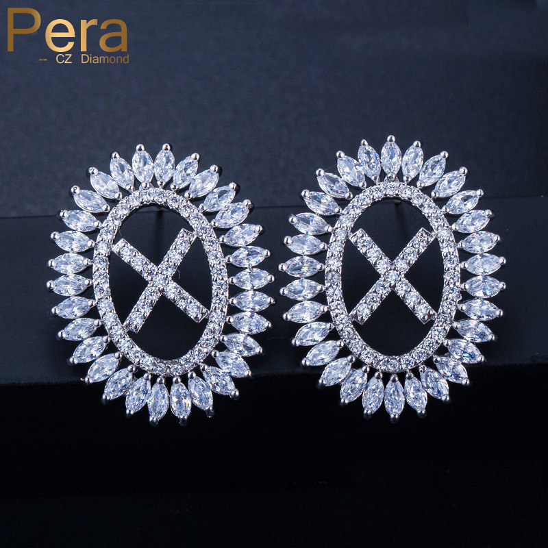 Pera Trendy Cute Sparkling Cubic Zirconia Big Initial Letter Silver Colour Stud Earrings Jewelry for Fashion Ladies Gift E386