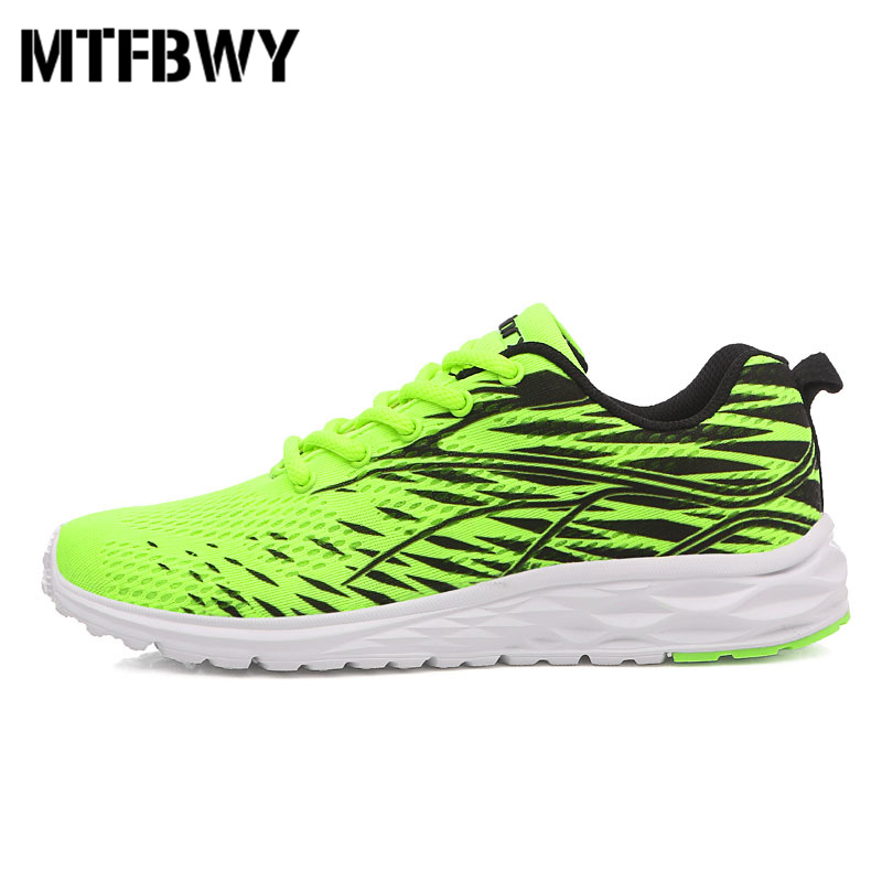 Mens running shoes breathable mesh lace-up men sport shoes green light outdoor sneakers  ...