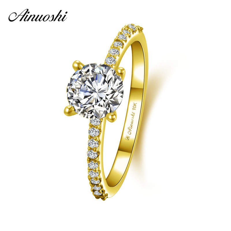 AINUOSHI 10k Solid Yellow Gold Round Ring 4 Prongs 1ct Round Cut SONA Diamond Ring Woman Wedding Engagement Jewelry Bridal Bands the poison tide