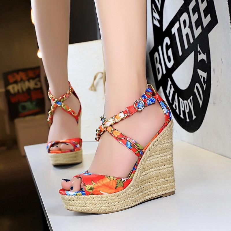 Wedges Sandals Espadrilles Ladies Shoes Cross-Strappy High-Heels Peep-Toe Fashion Women