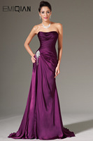 2014 New Simple Strapless Ruched Bodice Beading Decoration Formal Evening Gown