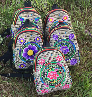 New Fashion Embroidery Women Small Backpacks!nice Handmade Floral Embroidered Shopping Backpack All-match Cute Bohemian Backrack