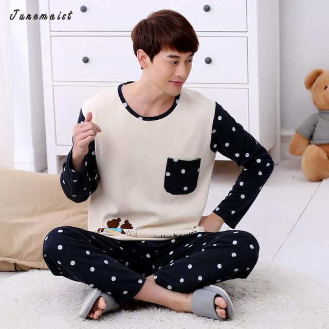 100% Cotton Pajamas Men Spring Autumn Mens Pyjamas Cotton Stripe Pajamas Long-sleeve Sleepwear Casual Men Pajama Set 3XL Pyjamas