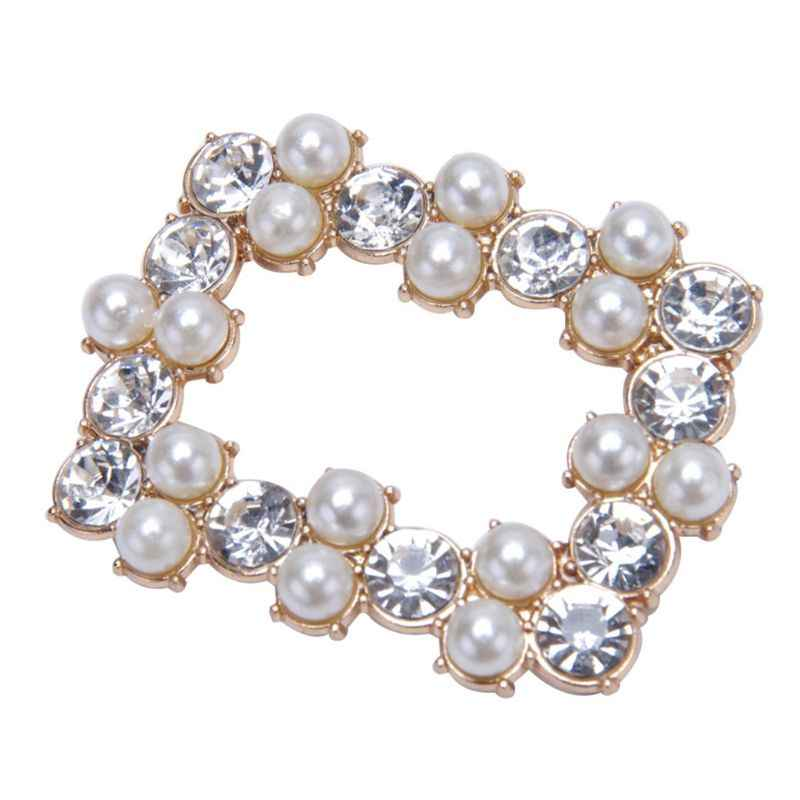 2 Pcs/Set Shoe Clip DIY Square Hollow High Heel Sandals Rhinestone Decoration  Pearl Simulation Charms Ornaments Clips Buckle