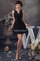 Gratis verzending 2018 nieuwe ontwerp hot verkoper spaghetti kralen bruidenmeisje prom gown korte formele sexy zwarte bruidsmeisje jurk
