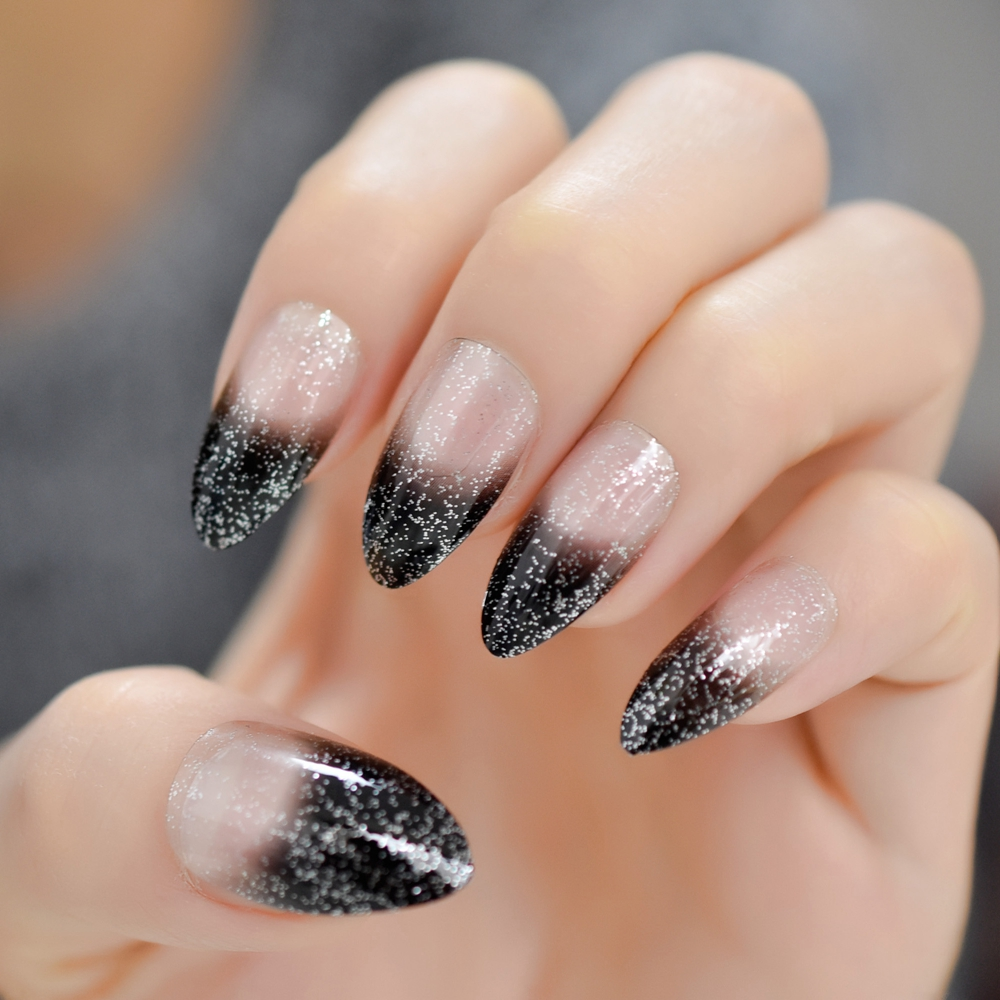US $1 26 16% OFF|Black Ombre French Nails Sharp Ending Acrylic Nail Tips  Glitter Gel Cover Gradient Pointed Nails False with Adhesive Tabs-in False