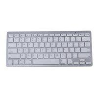 450 Ultra Dunne Draagbare Standaard 78-Key Draadloze Bluetooth Toetsenbord voor pad telefoon MAC PC (Zilver)