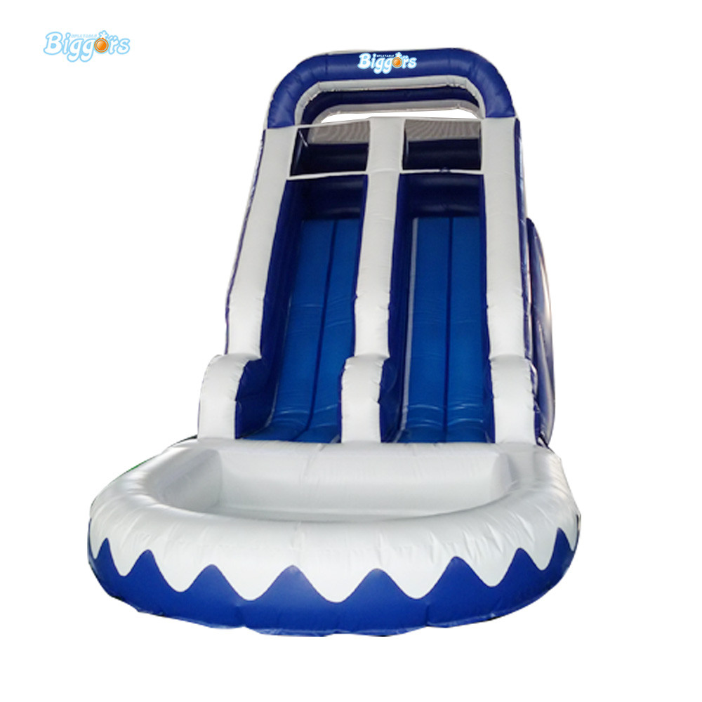 Inflatable Bouncy Slide Inflatable Water Pool Slide Giant Inflatable Slide For Sale children shark blue inflatable water slide with blower for pool