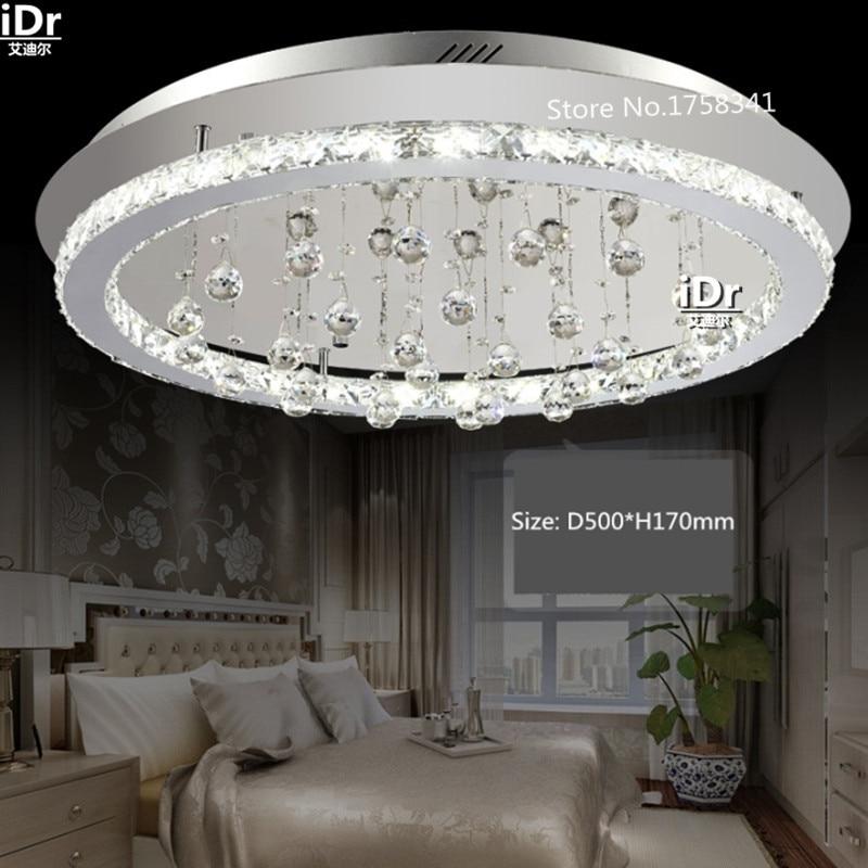 Round stainless steel Luxury lamp modern minimalist LED crystal ceiling light three bedroom crystal lamp living room lights modern led crystal ceiling light for living room lamp stainless steel