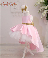 Cute pink high low flower girl dresses with gold sequin bow sash puffy tutu 1st baby birthday party gown kids graduation dresses