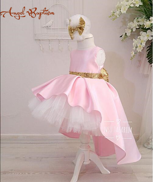 e13f62f21f23 Cute pink high low flower girl dresses with gold sequin bow sash ...