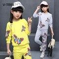 Conjuntos de roupas de primavera meninas buttlyfly v-tree impressão terno conjuntos para adolescentes da menina de 10 12 anos de roupas infantis roupas esportivas treino