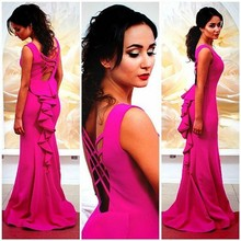 CYF6 Hot Sale 2016 Fuchsia Mermaid Prom Dresses Sheer Neckline Arabic Cross Back Evening Dress Custom Made Robe de soiree