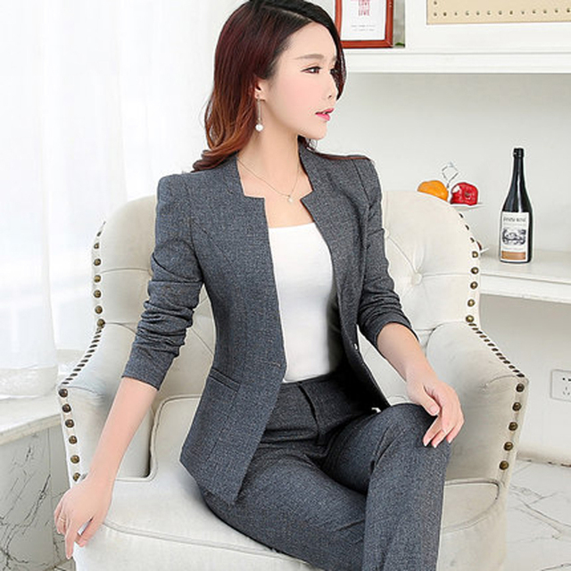 f92c13d80b50f0 En najaar nieuwe dameskleding OL kantoor jurk interview jasje + Slanke  broek Twee stuks sets