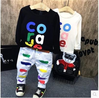 Kids boys and girls 2016 Hitz Korean wild letters printed T-shirt shirt bottoming t-shirt free shipping