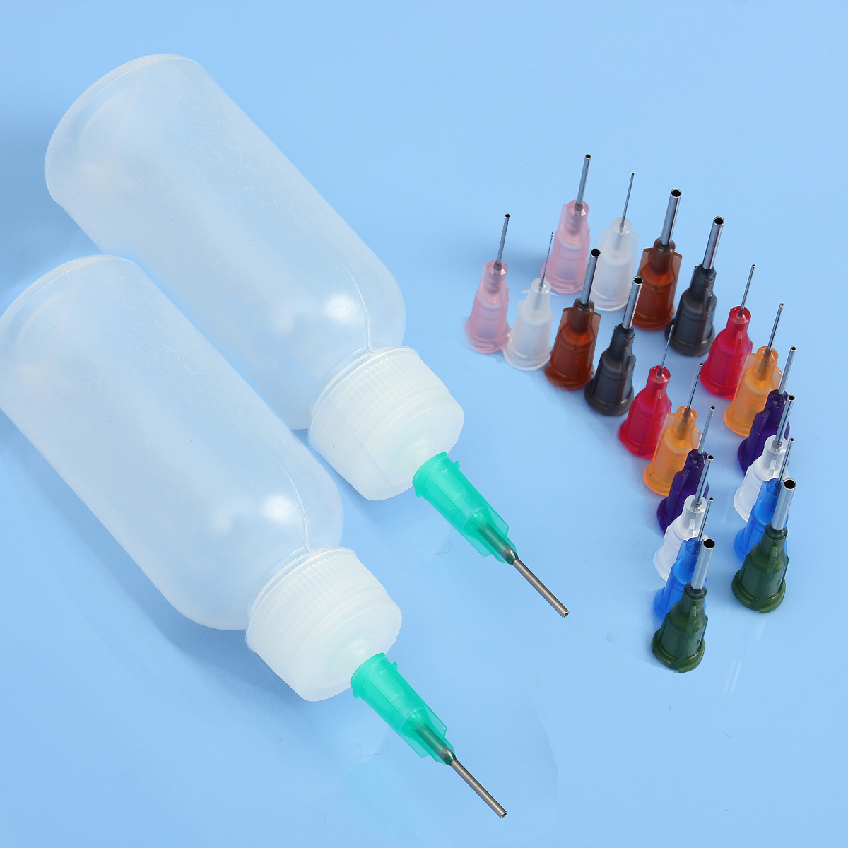 FORGELO 30ml Transparent Polyethylene Needle Dispenser Dispensing Bottle For Rosin Solder Flux Paste + 11 Needles Tools