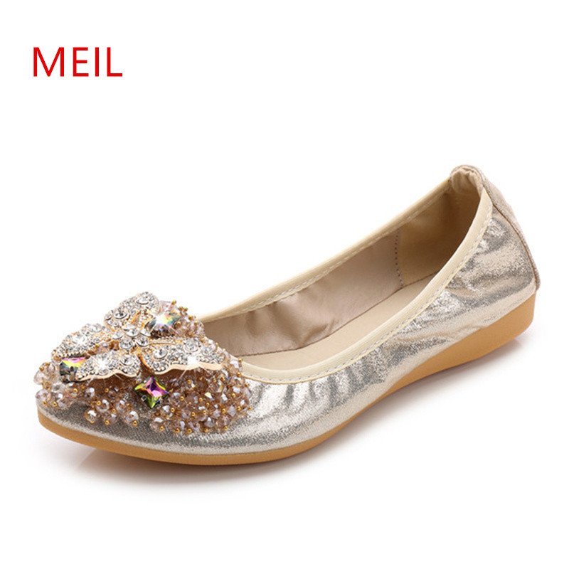2018 Brand Women Pointed Toe Flats Loafers Fashion Ballet Flats Ladies Lolita Flat Shoes Black Silver Shoes For Women Size32 45 in Women 39 s Flats from Shoes