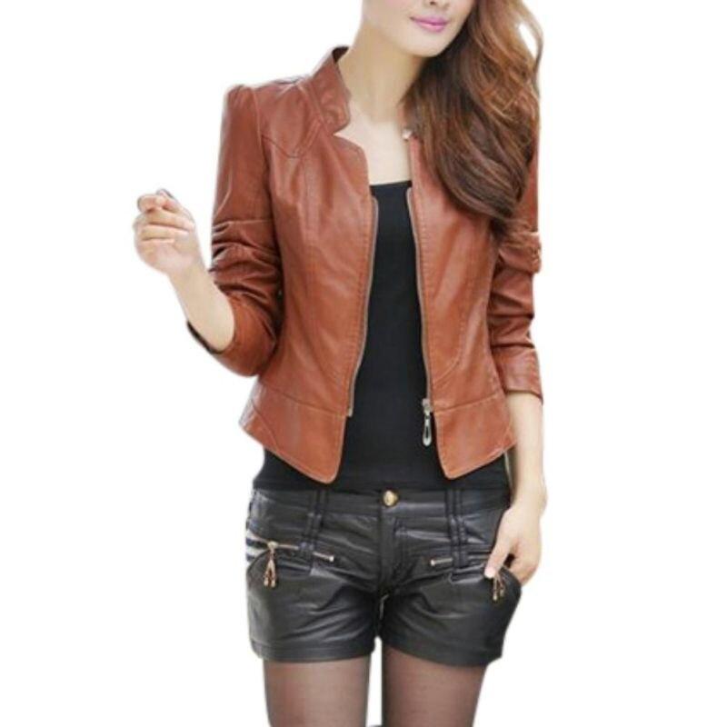 2019 New women Ladies slim Simple PU   Leather   motor jacket coat Feminina casual zipper long sleeve short motorcycle jaquetaYF406