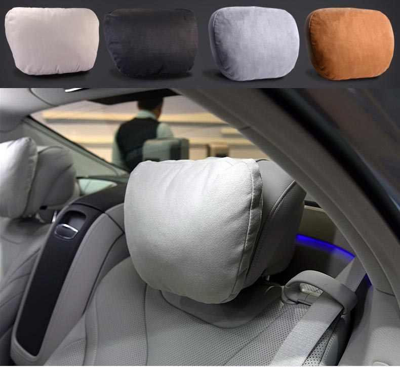 2Pcs 자동차 Headrest Maybach 디자인 S 클래스 울트라 소프트 베개 스웨이드 패브릭 블랙/베이지/브라운 메르세데스-벤츠 베개 액세서리