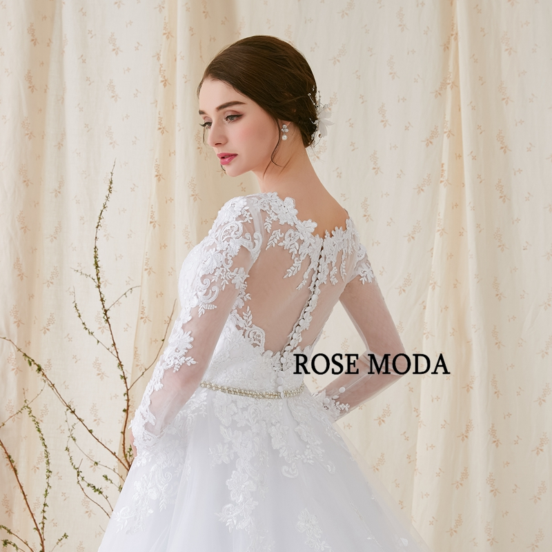 Купить с кэшбэком Rose Moda Long Sleeves Wedding Dress V Neck White Lace Wedding Dresses with Sleeves Real Photos