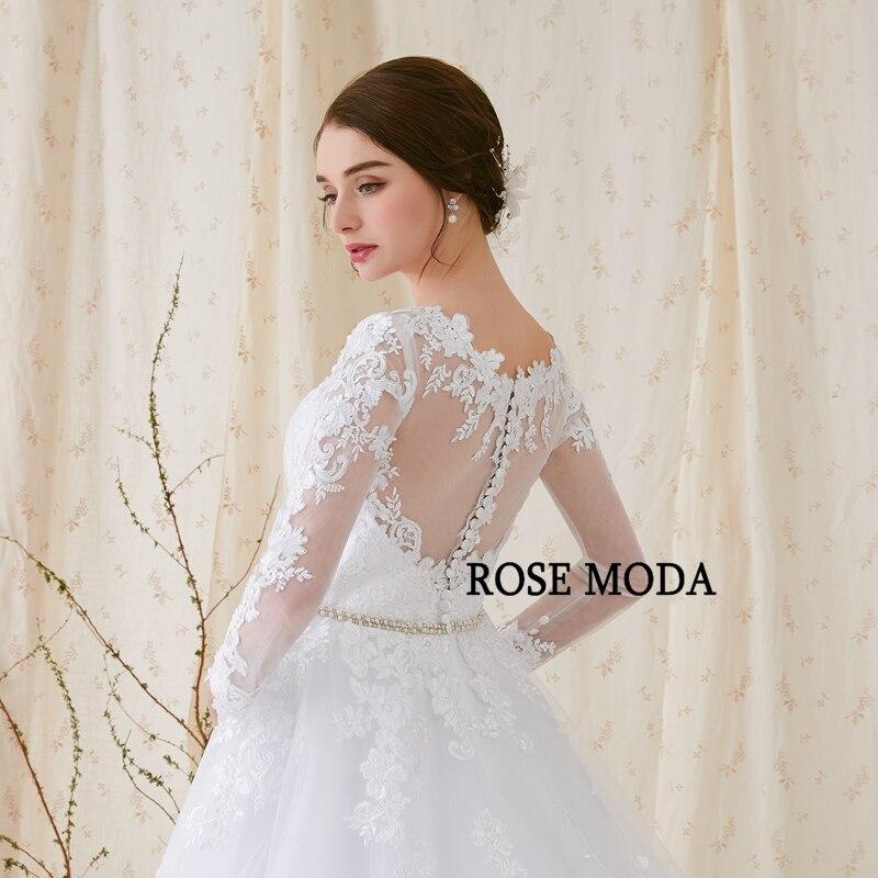Rose Moda lange mouwen trouwjurk V-hals witte kanten trouwjurken met - Trouwjurken - Foto 6