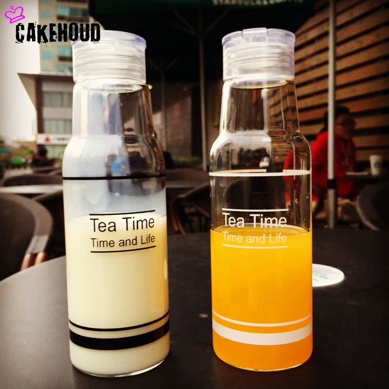 CAKEHOUD Self Driving Leak Proof Sealing Bottle,Simple Lemonade, Portable Lovers Bottle,Little Fresh Student Kettle