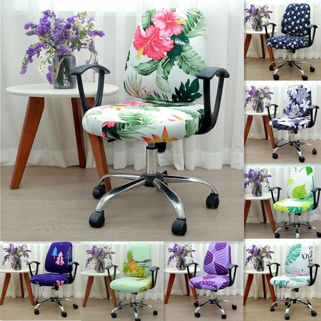 21 Цвета, современный спандекс, чехол для компьютерного стула, 100% из полиэстера и эластичной ткани, офисный раздельный чехол для стула, легко ...