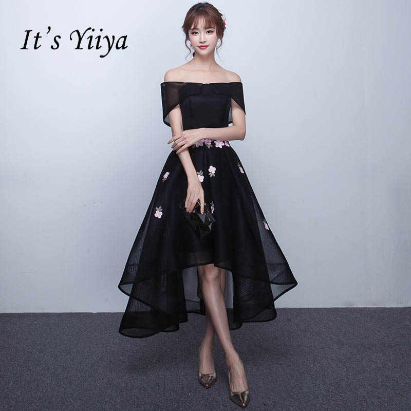 It s YiiYa Elegant Boat Neck Off The Shoulder Dinner Party Formal Dresses  Illusion Flowers L Tea 8c82bd5b73c0