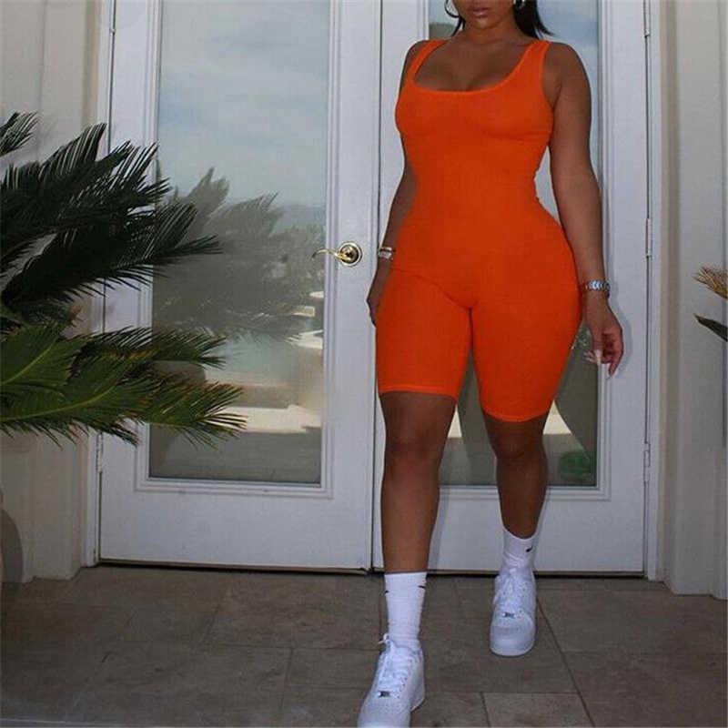 Mujeres Sexy vestido Clubwear sin mangas de verano Bodycon parte mono de Color sólido mujeres sin respaldo mameluco caliente pantalones cuerpo de Mujer
