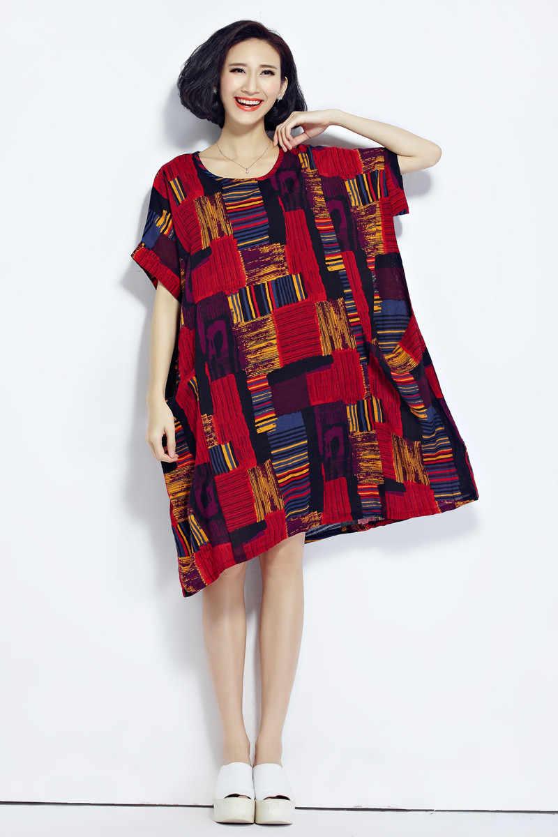 Clobee 2019 плюс размер платья Бохо летнее хлопковое и льняное клетчатое платье Одежда для беременных женщин кимоно платья больших размеров