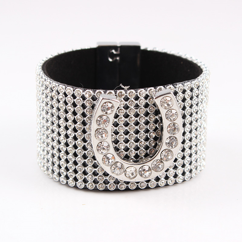 Magnetic Buckle Horseshoe Leather Bracelet Full Crystal Cape Bracelets for Women Wide Lucky Bracelets&Bangles jewelery