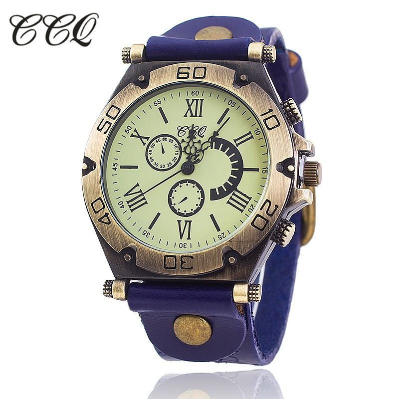 2017 CCQ Brand Vintage Women Watch Cow Leather Bracelet Watch Casual Luxury Women WristWatch Quartz Watch