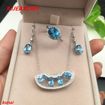 KJJEAXCMY boutique jewels 925 Sterling Silver with natural stone Blue Topaz Ring Pendant Earrings 3 suit send Necklace cfhbv
