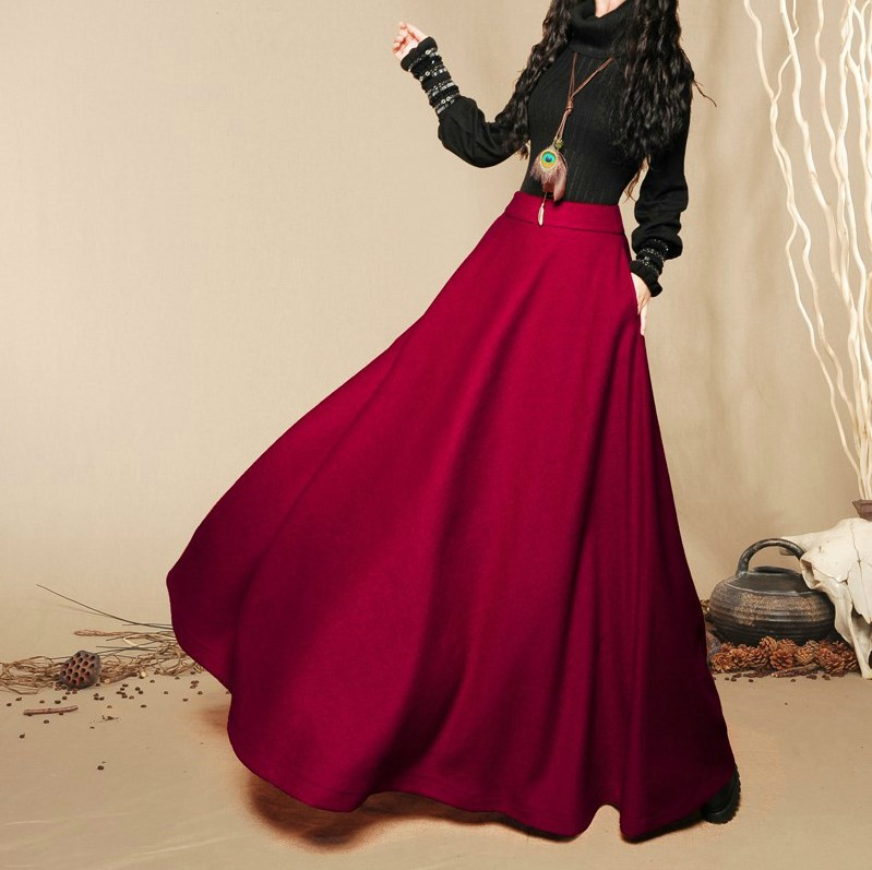 2017 New fashion autumn winter women's long skirt ladies' woolen ...