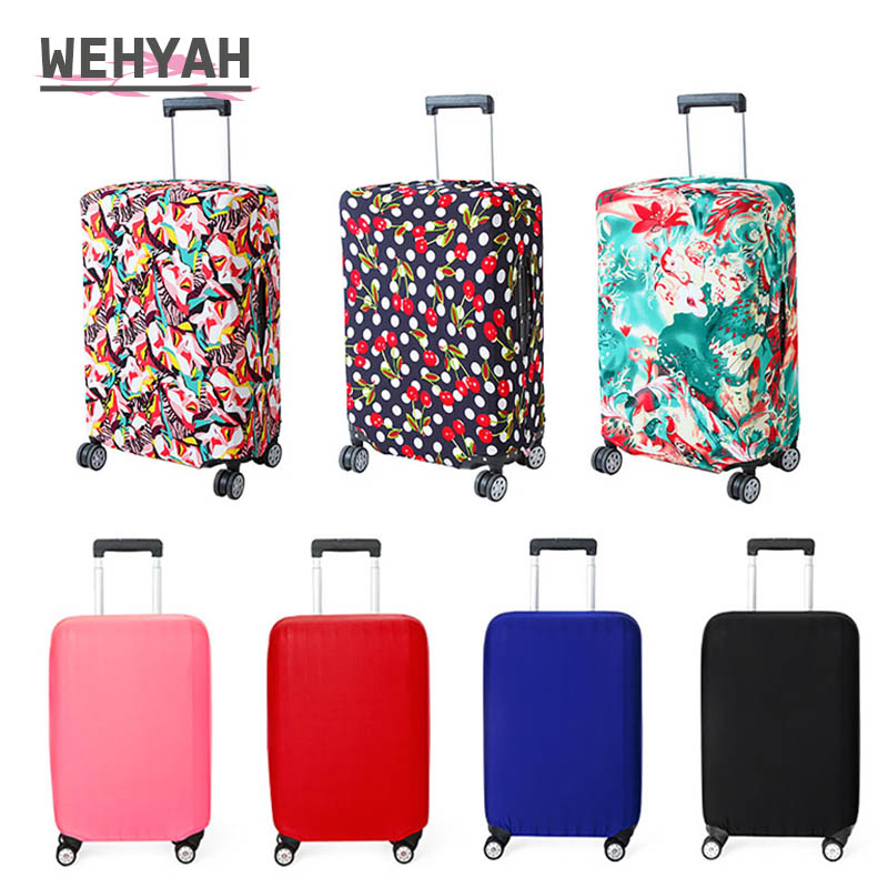 Wehyah Stretch Luggage Cover Suitcase Covers Travel Accessories Printed Striped Dust Cover 18'' 20'' Protective Case Solid ZY133