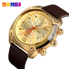 SKMEI Luxury Big Dial Men Quartz Watch Leather Strap Calendar Waterproof Male Wristwatches Sport Watch Relogio Masculino 9190 skmei sport quartz watches men causal fashion watch leather strap waterproof date wristwatches male relogio masculino wristwatch