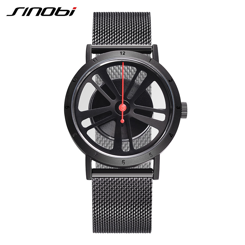 SINOBI  Black Fashion Men Watch Luxury Brand Stainless Steel Quartz Watch Wheel Dial Creative Clock Watches 2018 Reloj Hombre ysdx 398 fashion stainless steel self stirring mug black silver 2 x aaa