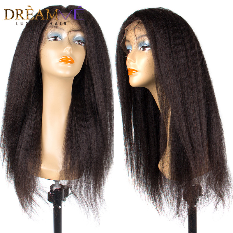 13x6 Lace Front Human Hair Wigs With Baby Hair 150 Density Brazilian Kinky straight Lace Front