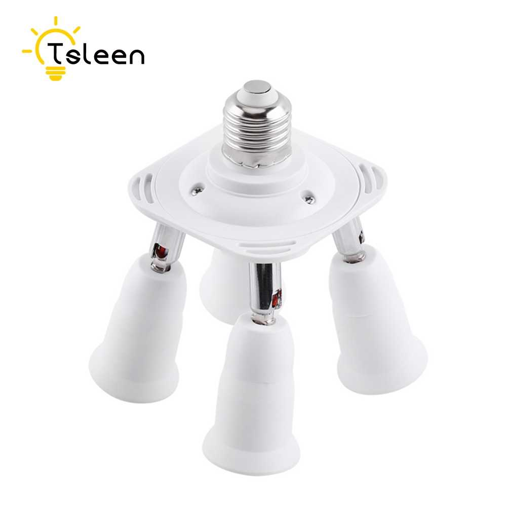 TSLEEN E27 Lamp Holder Converters 360 Degrees Flexible Extended E27 1 to 3/4 Lamp Base Pandent Light US EU Plug Adapter